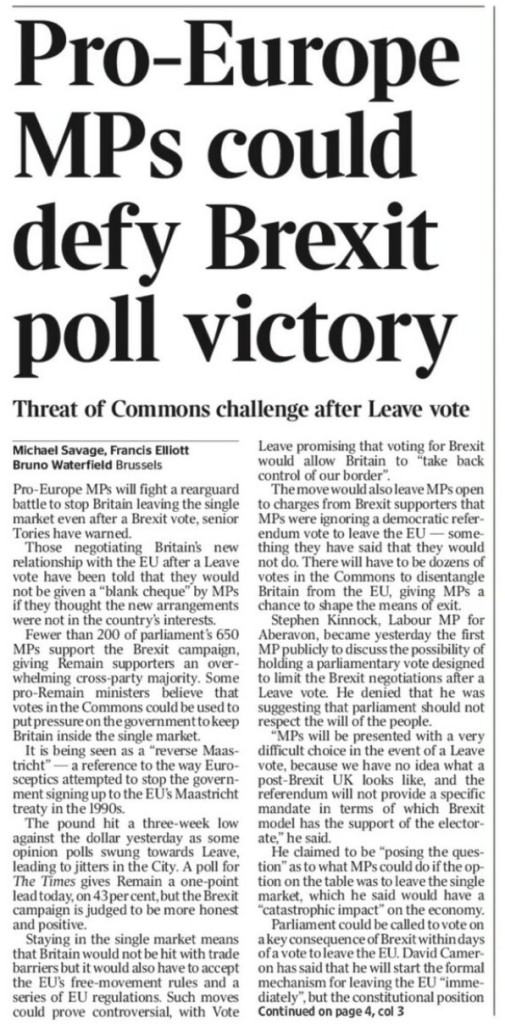 Pro-Europe MPs could defy Brexit poll victory   @michaelsavage @elliotttimes @BrunoBrussels