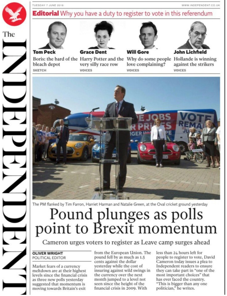 Pound plunges as polls point to Brexit momentum: Cameron urges voters to register as Leave camp surges ahead | @oliver_wright