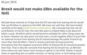 Brexit would not make £8bn available for the NHS | @TheIFS