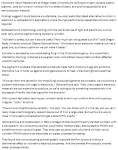 SciTech62 fungi-pigment-semiconductor-material @bjeaglefeather,@OregonState,@Nanowerk
