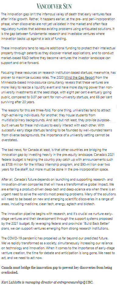 Canada43 Canada must bridge the innovation gap to prevent key discoveries from being overlooked @VancouverSun,@ubcentrepreneur,@kari_lamotte