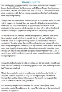 Canada47 driverless bus pilot project @mtlgazette