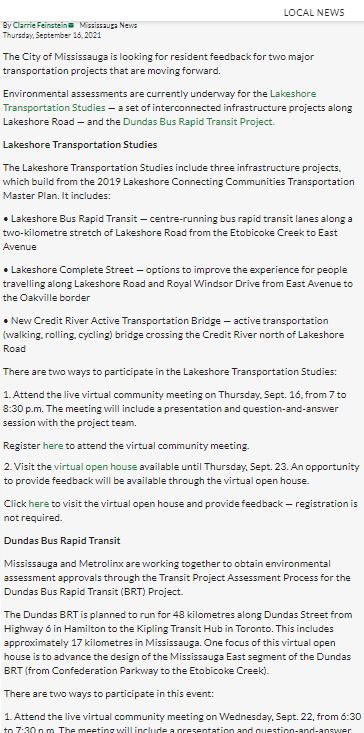 Canada55 Residents can have their say in two Mississauga transportation projects @MissiNewsRoom
