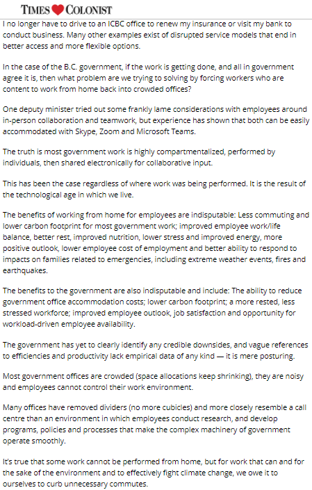 Canada58 Comment- Fight climate change by working from home @SustainableKtwn,@timescolonist