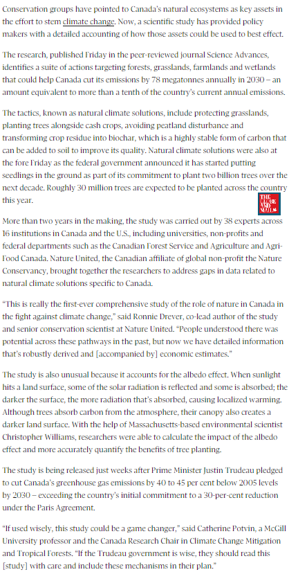 Canada58 New study offers Canada natural solutions to combat climate change @SustainableKtwn,@globeandmail