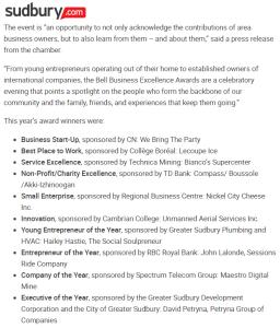 Canada59 Chamber celebrates 10 of Sudbury's greatest entrepreneurs and businesses @sudburydotcom