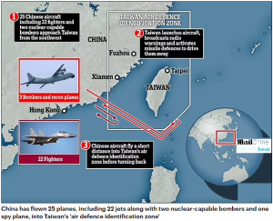 World194 China flies 25 aircraft including nuclear bombers into Taiwan's airspace in largest incursion for months @MailOnline
